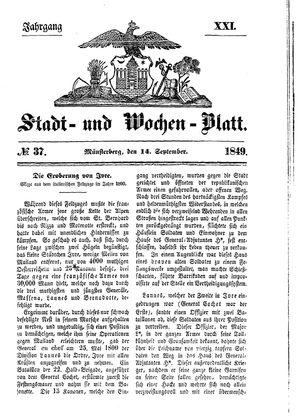 Stadt- und Wochenblatt vom 14.09.1849