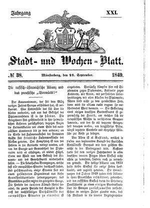 Stadt- und Wochenblatt vom 21.09.1849