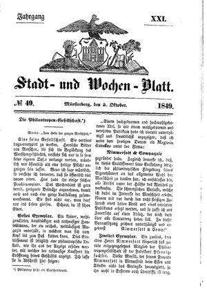 Stadt- und Wochenblatt on Oct 5, 1849