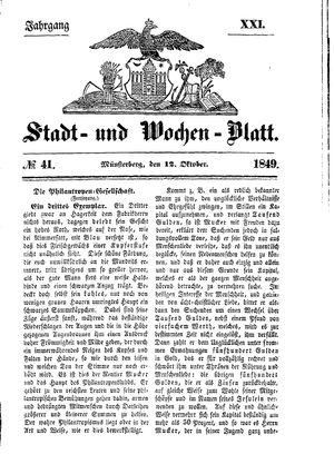 Stadt- und Wochenblatt vom 12.10.1849