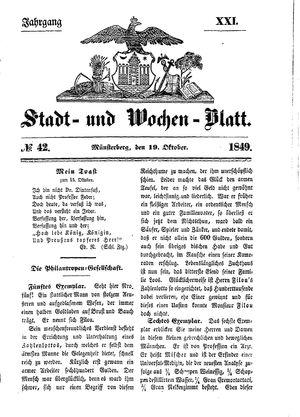 Stadt- und Wochenblatt vom 19.10.1849