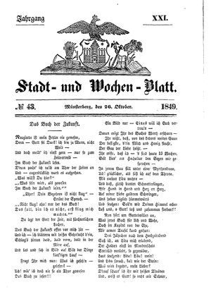 Stadt- und Wochenblatt on Oct 26, 1849