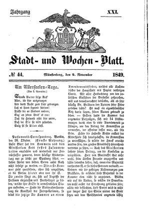 Stadt- und Wochenblatt vom 02.11.1849