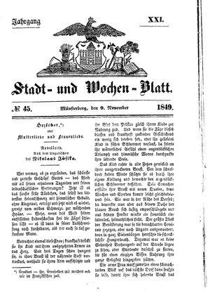 Stadt- und Wochenblatt vom 09.11.1849