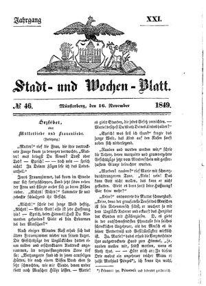 Stadt- und Wochenblatt vom 16.11.1849