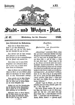 Stadt- und Wochenblatt on Nov 23, 1849