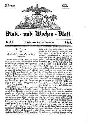 Stadt- und Wochenblatt on Nov 30, 1849