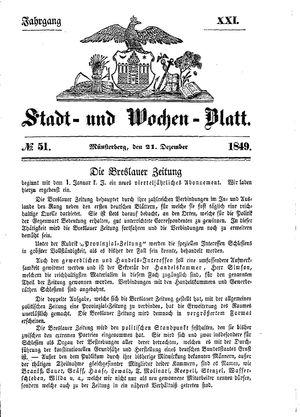 Stadt- und Wochenblatt on Dec 21, 1849