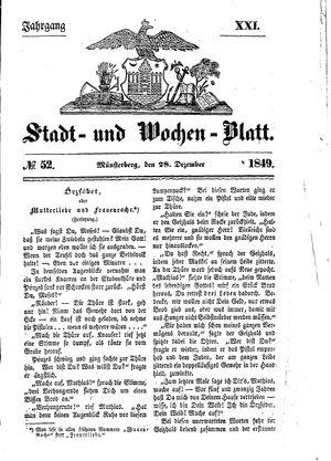 Stadt- und Wochenblatt vom 28.12.1849