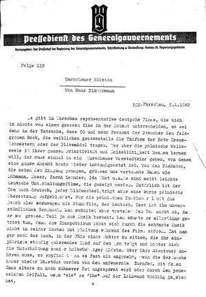 Pressedienst des Generalgouvernements / Pressechef der Regierung des Generalgouvernements vom 09.01.1942