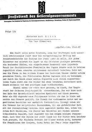 Pressedienst des Generalgouvernements / Pressechef der Regierung des Generalgouvernements vom 16.01.1942