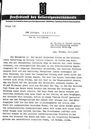 Pressedienst des Generalgouvernements / Pressechef der Regierung des Generalgouvernements vom 20.01.1942
