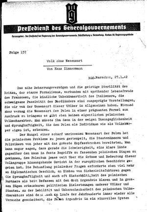 Pressedienst des Generalgouvernements / Pressechef der Regierung des Generalgouvernements vom 27.01.1942