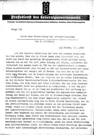 Pressedienst des Generalgouvernements / Pressechef der Regierung des Generalgouvernements vom 30.01.1942