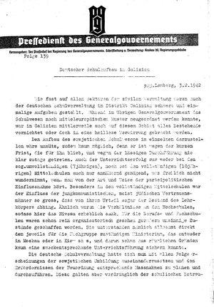 Pressedienst des Generalgouvernements / Pressechef der Regierung des Generalgouvernements vom 03.02.1942