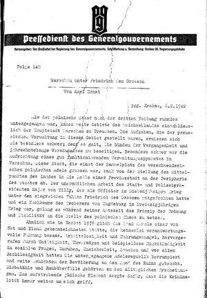 Pressedienst des Generalgouvernements / Pressechef der Regierung des Generalgouvernements vom 06.02.1942