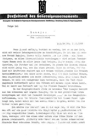 Pressedienst des Generalgouvernements / Pressechef der Regierung des Generalgouvernements vom 10.02.1942