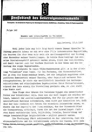 Pressedienst des Generalgouvernements / Pressechef der Regierung des Generalgouvernements vom 13.02.1942