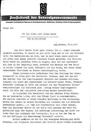 Pressedienst des Generalgouvernements / Pressechef der Regierung des Generalgouvernements on Feb 20, 1942