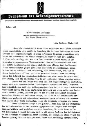 Pressedienst des Generalgouvernements / Pressechef der Regierung des Generalgouvernements vom 24.02.1942