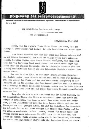 Pressedienst des Generalgouvernements / Pressechef der Regierung des Generalgouvernements vom 27.02.1942