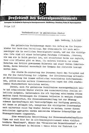 Pressedienst des Generalgouvernements / Pressechef der Regierung des Generalgouvernements vom 03.03.1942