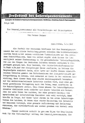 Pressedienst des Generalgouvernements / Pressechef der Regierung des Generalgouvernements vom 06.03.1942