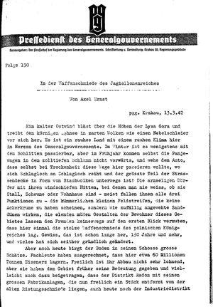 Pressedienst des Generalgouvernements / Pressechef der Regierung des Generalgouvernements vom 13.03.1942