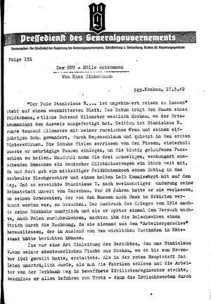 Pressedienst des Generalgouvernements / Pressechef der Regierung des Generalgouvernements vom 17.03.1942