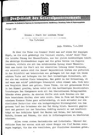 Pressedienst des Generalgouvernements / Pressechef der Regierung des Generalgouvernements vom 07.04.1942