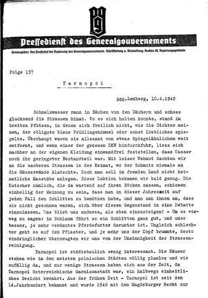 Pressedienst des Generalgouvernements / Pressechef der Regierung des Generalgouvernements vom 10.04.1942