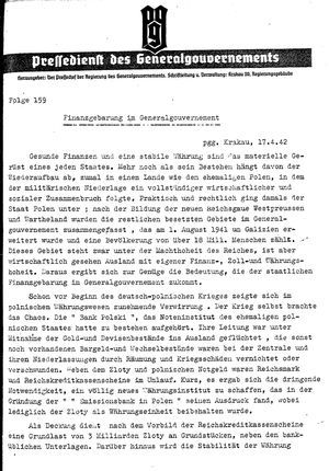 Pressedienst des Generalgouvernements / Pressechef der Regierung des Generalgouvernements vom 17.04.1942