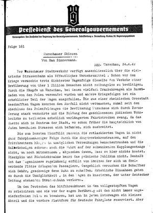 Pressedienst des Generalgouvernements / Pressechef der Regierung des Generalgouvernements vom 24.04.1942