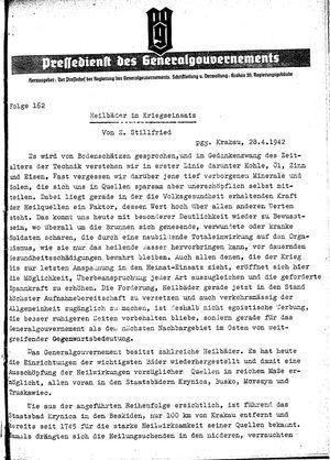 Pressedienst des Generalgouvernements / Pressechef der Regierung des Generalgouvernements vom 28.04.1942