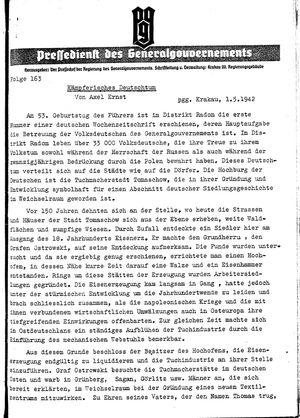 Pressedienst des Generalgouvernements / Pressechef der Regierung des Generalgouvernements vom 01.05.1942