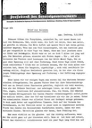 Pressedienst des Generalgouvernements / Pressechef der Regierung des Generalgouvernements vom 05.05.1942