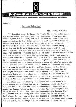 Pressedienst des Generalgouvernements / Pressechef der Regierung des Generalgouvernements on May 8, 1942