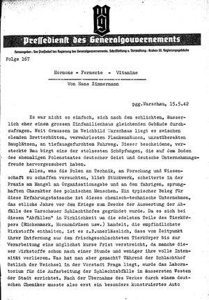 Pressedienst des Generalgouvernements / Pressechef der Regierung des Generalgouvernements vom 15.05.1942