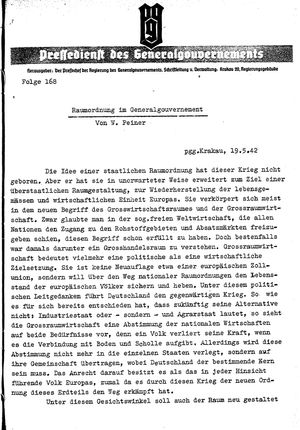Pressedienst des Generalgouvernements / Pressechef der Regierung des Generalgouvernements vom 19.05.1942