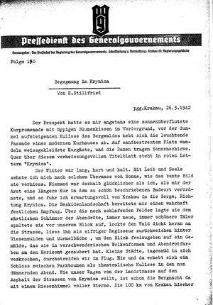 Pressedienst des Generalgouvernements / Pressechef der Regierung des Generalgouvernements vom 26.05.1942