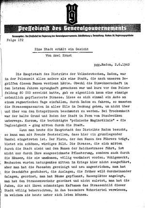 Pressedienst des Generalgouvernements / Pressechef der Regierung des Generalgouvernements on Jun 2, 1942