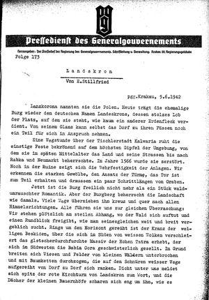 Pressedienst des Generalgouvernements / Pressechef der Regierung des Generalgouvernements vom 05.06.1942