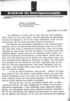 Pressedienst des Generalgouvernements / Pressechef der Regierung des Generalgouvernements vom 16.06.1942