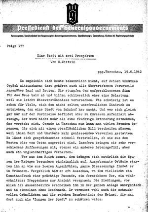 Pressedienst des Generalgouvernements / Pressechef der Regierung des Generalgouvernements vom 19.06.1942