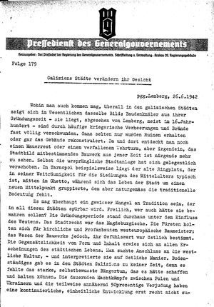Pressedienst des Generalgouvernements / Pressechef der Regierung des Generalgouvernements vom 26.06.1942