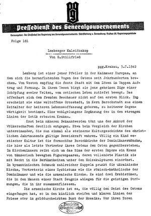 Pressedienst des Generalgouvernements / Pressechef der Regierung des Generalgouvernements vom 03.07.1942