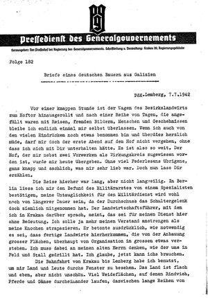Pressedienst des Generalgouvernements / Pressechef der Regierung des Generalgouvernements vom 07.07.1942