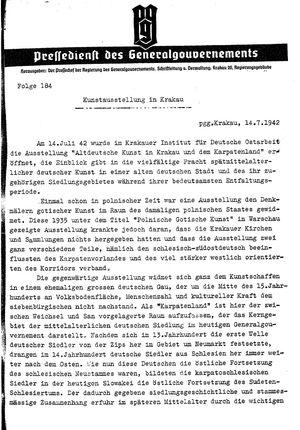 Pressedienst des Generalgouvernements / Pressechef der Regierung des Generalgouvernements vom 14.07.1942