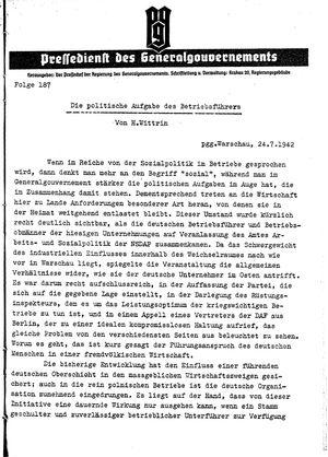 Pressedienst des Generalgouvernements / Pressechef der Regierung des Generalgouvernements vom 24.07.1942