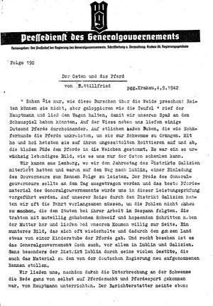 Pressedienst des Generalgouvernements / Pressechef der Regierung des Generalgouvernements vom 04.08.1942